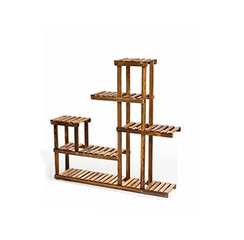 Support à fleurs avec 6 rangées, en bois, Support à fleurs pour l'intérieur, à plusieurs niveaux, HxLxP: 124 x 124x 26 cm, Brun foncé