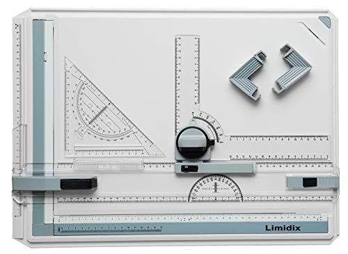 Limidix Zeichenbrett DIN A3 - Profi Zeichentisch mit vielseitigem Zubehör - Zuverlässige Zeichenplatte mit Zeichenkopf - robuste Zeichenmaschine (DIN A3)