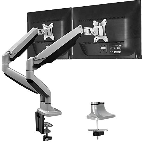HUANUO Dual Monitor Stand - Double Arm Monitor Desk Mount Fit Two 13 to 32 Inch Flat Curved Computer Screen, Adjustable Swivel Gas Spring Arm with Clamp, Grommet Mounting Base, Each Arm Holds 19.8lbs