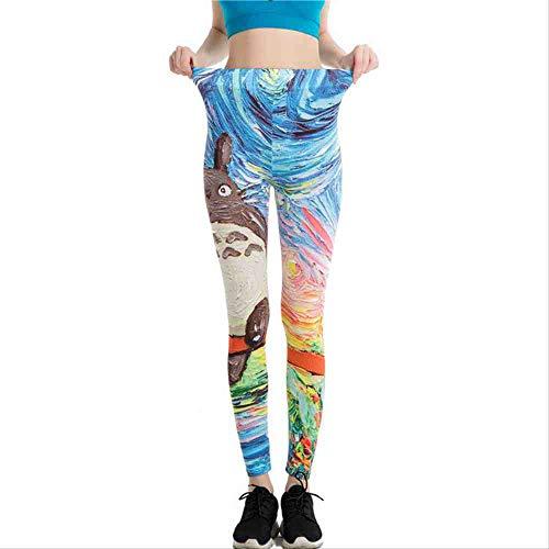 YGKDM Estampado de Dibujos Animados Pantalones de Yoga Mujer Leggings 3D Impreso Eye Legins Gradient Leggins Lápiz Pantalones Legging Medias Mujeres Yoga Pant SA