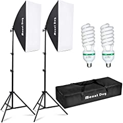 【2 Softbox】: 2pcs 20 x 28inch MountDog softbox ultimately soften light stream and remove shadow to make perfect shooting; Silver internal face to minimize light loss and maximize light spread, with E27 socket,you can directly connect light bulbs,fluo...
