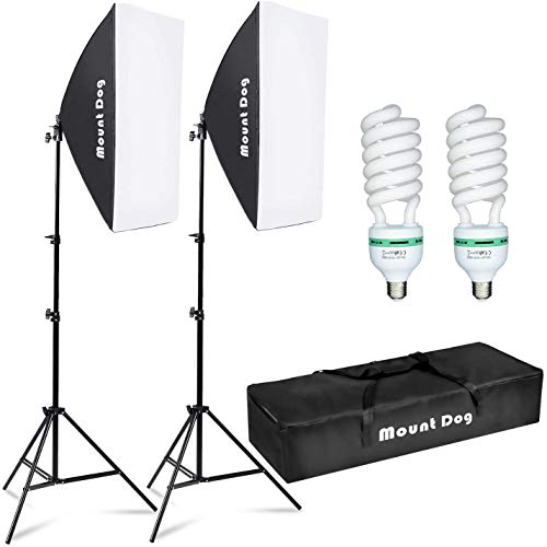 "MOUNTDOG Softbox Lighting Kit Photography Studio Light 20""X28"" Professional Continuous Light System with E27 95W Bulbs 5500K Photo Equipment for Filming Model Portraits Advertising Shooting"