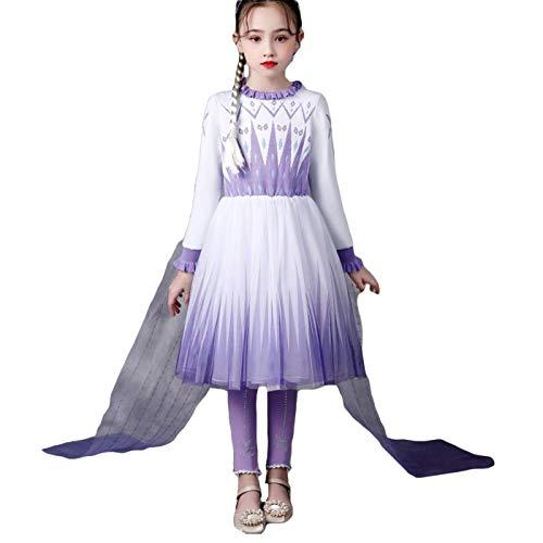 Kosplay Vestido Elsa para Nias Princesa Cosplay Congelado 2 Disfraz de Reina de Hielo y Nieve Nios Cumpleaos Halloween Navidad Carnaval 3-12 Aos