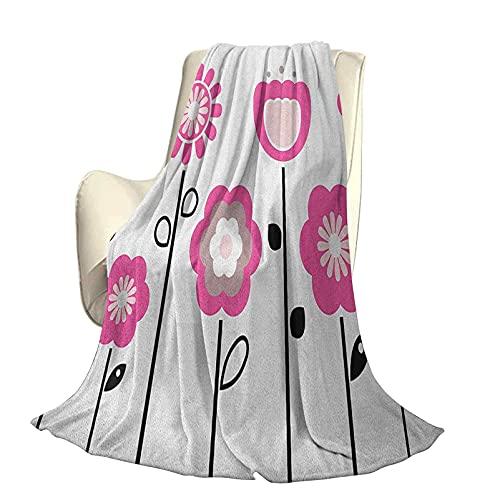 Rose et Blanc Moelleux en Peluche Douce et Confortable Couverture Chaude Fleurs abstraites stylisées sur Le thème du Champ Rural Girly Artistique Nature Luxe climatisation Housse de Couette