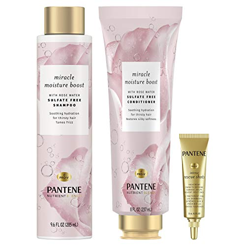 Pantene Sulfate Free Shampoo and Conditioner plus Hair Mask Shot Treatment with Rose Water, Nutrient Blends Miracle Moisture Boost