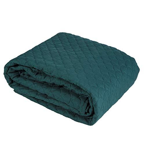 Eurofirany Bedsprei, eenvoudig sprei, visschubbenpatroon, gewatteerde deken, sprei, quilt, slaapkamer, woonkamer, lounge, donkergroen, 170 x 210 cm