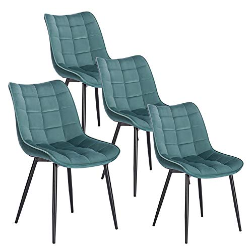 WOLTU 4 x Esszimmerstühle 4er Set Esszimmerstuhl Küchenstuhl Polsterstuhl Design Stuhl mit Rückenlehne, mit Sitzfläche aus Samt, Gestell aus Metall, Türkis, BH142ts-4