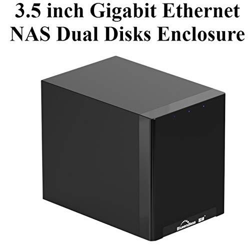 Absir Gigabit Ethernet NAS HDD Enclosure Smart HDD Case for 2.5'' 3.5'' Hard Disk Gigabit Ethernet Interface Nas Remote Access Disk X8 double disc UK plug