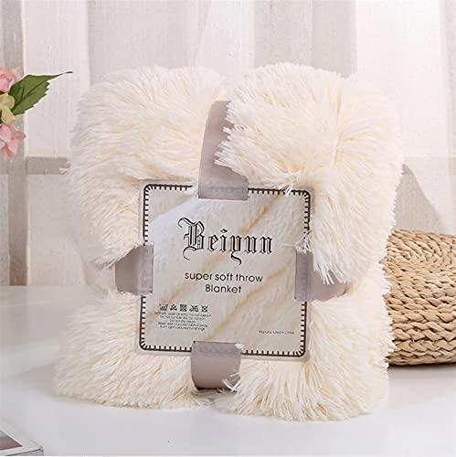 Kuscheldecke Flauschig Ecru Tagesdecke Langhaar Decke Sofadecke Für Couch 160x200 cm Wohndecke Wendedecke als Sofaüberwurf oder Wohnzimmerdecke