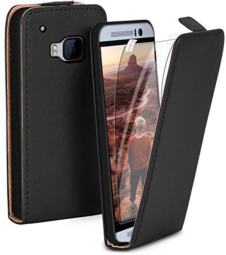 moex Premium Handytasche + Schutzfolie kompatibel mit HTC One M9 | Klapphülle - 360 Grad Schutz für Vorne & Hinten + Handy Folie, Schwarz