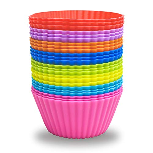 24 Pack Silicone Baking Cups Reusable Muffin Liners Non-Stick Cup Cake Molds Set Cupcake Silicone Liner Standard Size Silicone Cupcake Holder Reusable Cupcake Liners Christmas Gift (8 Rainbow Colors)