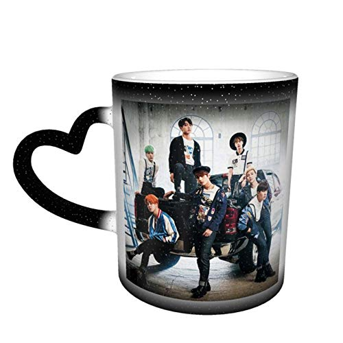 B-T-S Mug Ceramic,Retro 3d Printing Novelty Easy To Hold Tea Coffee Color Changing Cups Christmas Gift Birthday Black