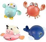 ASFINS Juguetes Bañera Bebe, 4pcs Juguetes Bano Ninos Juguete Agua Bañera, Seguro sin BPA, para Bebés Baño Piscina Playa (Estilo: Delfín, Cangrejo, Vaca, Pingüino)