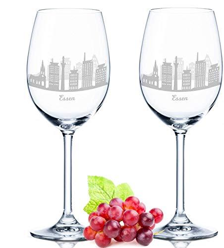Leonardo Verre à vin avec gravure – Skyline Nourriture en kit – Cadeau Pour exigeants & le vin genießer – Souvenirs de souvenirs Ville mitbringsel – Cadeau d'anniversaire Cadeau de Noël