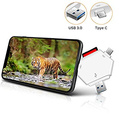 HENKUR Trail Camera Viewer SD Card Reader - 3 in 1 SD and Micro USB 3.0 SD Memory Card Reader to View Hunting Game Camera Photos or Videos for iPhone, Android, and Computer, No App Required. (White)