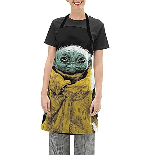 Baby Yoda Star The Wars - Delantal impermeable ajustable para el hogar, cocina, restaurante, café, casa, hornear, asar a la parrilla, limpieza del hogar