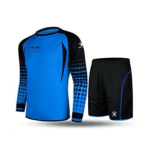 Conjunto para portero de fútbol, de la marca Kelme, de manga larga, color azul y negro,...