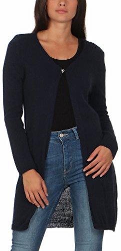 malito dames cardigan lang | Cardigan in grofgebreide look | Vest met wol |Mohair - Jas - Mantel 7025