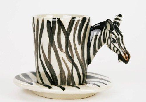 Zebra Espresso-Tasse handgefertigt Keramik Weiß gestreift 56g (8cm x 5cm)