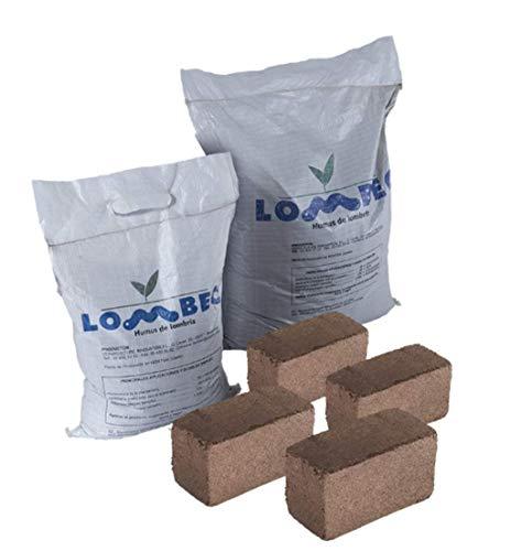 LOMBEC Pack sustrato óptimo para huerto Compuesto por Humus de lombriz y Fibra de Coco (21,6KG). Kit de abono Recomendado para mesas de Cultivo de 750x500 (67 litros)