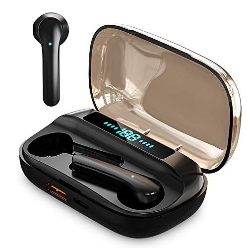 Cuffiette Cuffie Bluetooth Auricolari Bluetooth Cuffie Wireless Con Microfono Cuffiette Bluetooth Auricolari Wireless Con Custodia Per Batteria (JS33-Black)