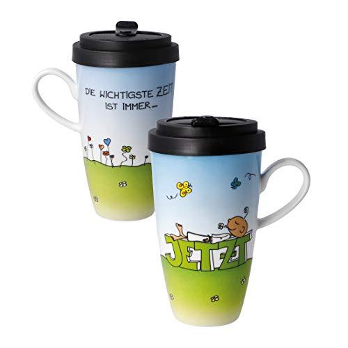 Café to go JETZT Multicolor Porcelana con tapa 500 ml Goebel Porzellan