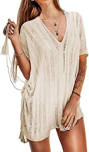 Xinlong Copricostumi da Bagno Donna Copricostume Irregolare in Pizzo Maglieria Bikini Cover Up Tinta Unita Sexy Vestiti da Mare Spiaggia (74-Beige)