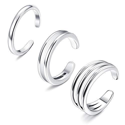 Sllaiss Juego de anillos apilables minimalistas de plata de ley 925 para dedo del pie para mujer, anillos horizontales dobles triples simples de banda ajustable para los dedos del pie y nudillos, ta