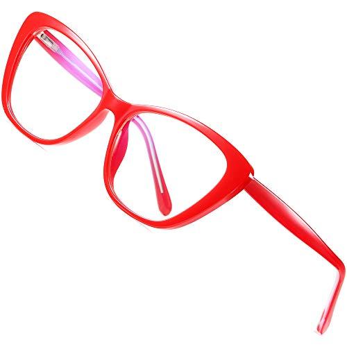 ATTCL Damen blaulichtfilter brille Cateye computerbrille zum Blockieren von UV-Kopfschmerz [Augenbelastung Reduzieren] Gaming Brillen(Herren/Damen) 2004 Red