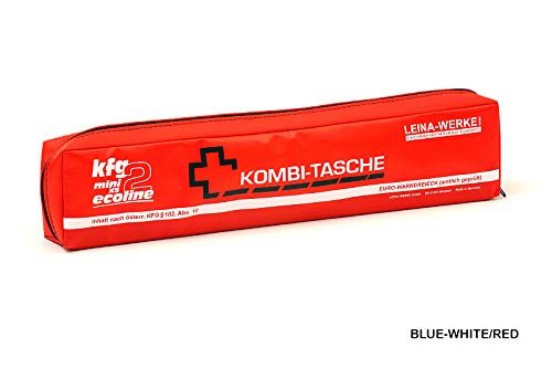 LEINAWERKE 32077 Mini bolsa combinada XS KFG2 Ecoline azul, blanco y rojo, con velcro, 5 unidades