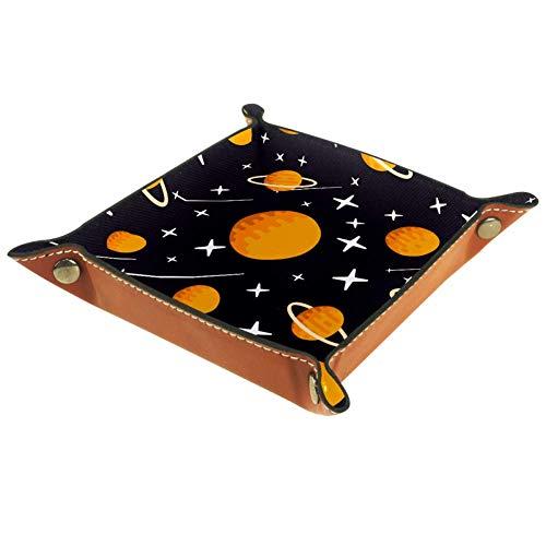 FCZ Cartoon Planeten Sterne Meteor Muster Leder Valet Tablett Nachttisch Schreibtisch Catchall Storage Organizer Box für Schmuck Schlüssel Münzen Candy