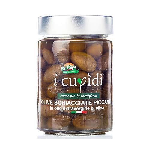 Olive schiacciate piccante in olio extravergine di oliva 200 grammi, I Cupidi, La Cupa società cooperativa agricola