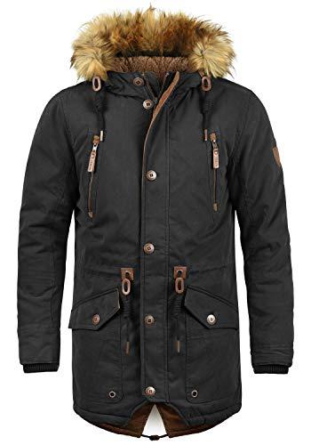!Solid Vidage Herren Winter Jacke Parka Mantel Lange Winterjacke gefüttert mit Kunst-Fellkapuze, Größe:XL, Farbe:Black (9000)