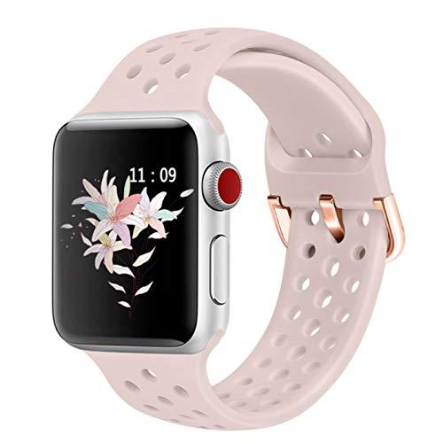 Banda de goma compatible para Apple Watch 4 5 6 SE 40mm 44mm Correa deportiva de silicona suave para IWatch Series 5 4 3 2 1 38MM 42MM-Color 7, para 42MM y 44MM