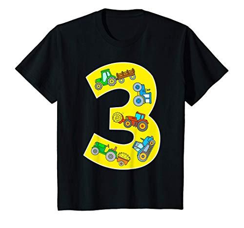 Niños Tractor Aniversario 3 Años Tractores Granja Máquina Agrícola Camiseta