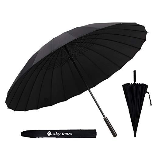 Paraguas Hombre Grande Paraguas Antiviento Hombre, Mango Cuero de la PU Antideslizante y Cómodo Paraguas Largos SKY TEARS (A Negro)
