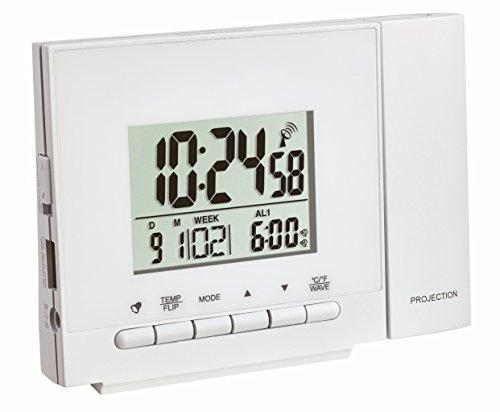 TFA Dostmann Funk-Projektionsuhr mit Thermometer, Kunststoff, Weiß, 12 x 5 x 9 cm