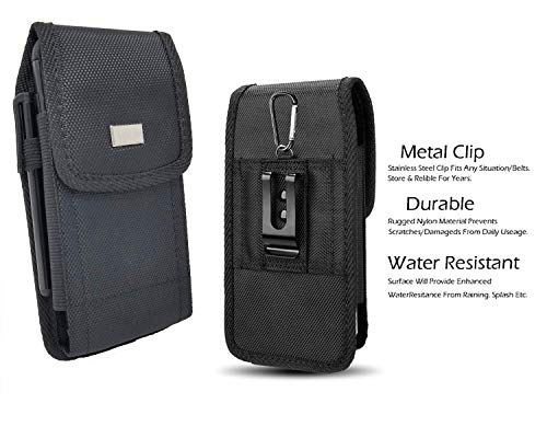 AISCELL Metal Belt Clip Carrying Case, Black Rugged Tactical Nylon Pouch Waist Hip Holster,Compatible for Huawei P30 Pro, P20 Pro, Raven, with Hybrid Protective Cover Case or Naked Phone