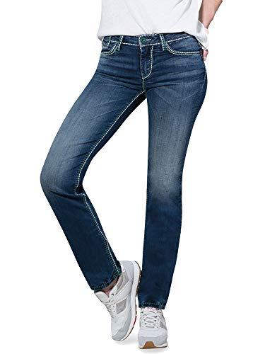 SOCCX Damen Jeans CO:LE mit Kontrastnähten und Boot Cut