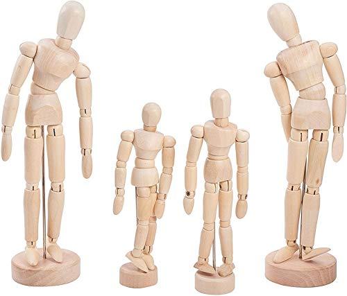 Modellpuppe aus Holz, Modellpuppe Aus Holz, Unisex, Mit Verstellbaren Gliedmaßen Auf Stabiler Basis, Ideal Als Vorlage Zum Zeichnen (5 Stück)