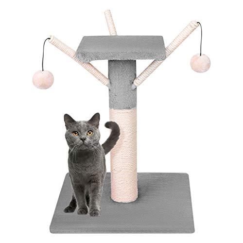 Marco de Escalada Gato sisal pequeño árbol de Gato rascador de Techo Mesa Redonda de Centro Actividad Gato Rodillo de árbol Gato Tabla de Poste para rascar con Plataforma de Juguete Bola de Gato