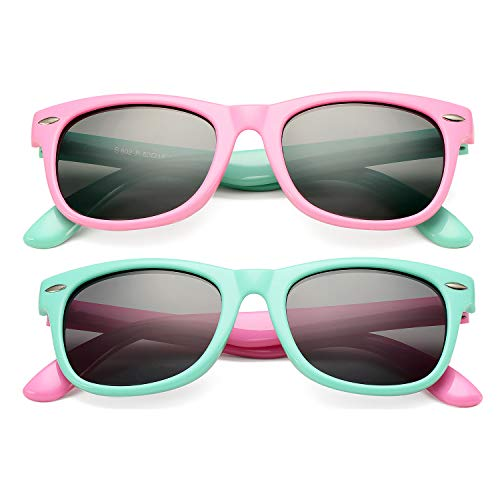 DeBuff Kids Polarized Sunglasses TPEE Rubber Flexible Frame for Boys Girls Age 3-10 (Two Pairs - (Pink/Green+Green/Pink)))