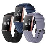 FunBand Correa para Fitbit Charge 3/Charge 4, Edición Especial Soft Silicona Deportes Recambio de Pulseras Ajustable Reemplazo Accesorios para Reloj Fitbit Charge 3/Charge 4