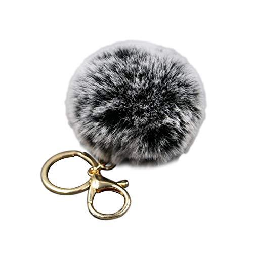 LKXHarleya Mujer Pom Pom Faux Fur Ball Keyring Peluche Bola Llavero Fluffy Keyr Artificial Fur Ball Llavero Bolso Bolso Llavero Del Coche, Negro Gris ✅