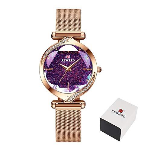 JCCOZ-URG Reloj de Cuarzo Marca Relojes de Las Mujeres Top Lujo de Las Mujeres de Acero Inoxidable Resistente al Agua Reloj de Pulsera Pulsera de Damas URG