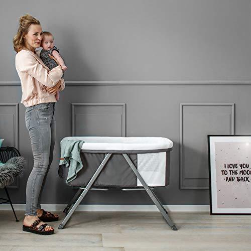 Hauck Dreamer Babywiege/Stubenwagen/Beistell-/Reisebett, inkl. Matratze und Spielzeugtasche, mit Schaukelfunktion, faltbar, klappbar und tragbar, Grau - 17