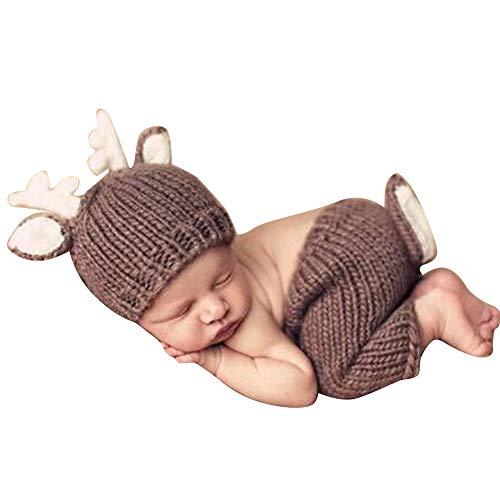 Quge Recién Nacido Fotografía Apoyos Bebé Crochet Trajes Ciervos Sombrero + Pantalones Cortos Café Oscuro