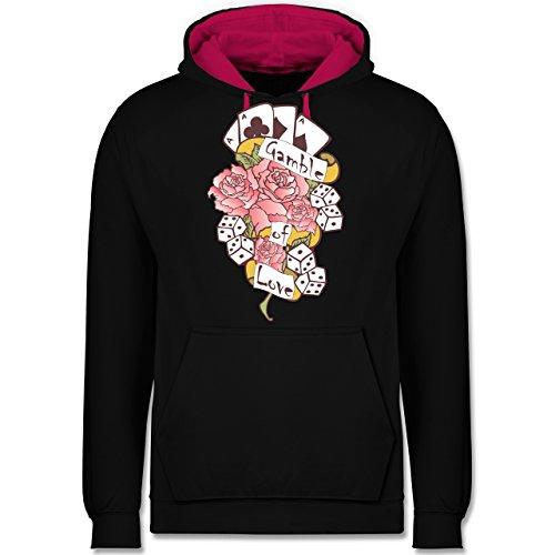 Shirtracer Rockabilly - Gamble of Love - M - Schwarz/Fuchsia - Tattoo - JH003 - Hoodie zweifarbig und Kapuzenpullover für Herren und Damen