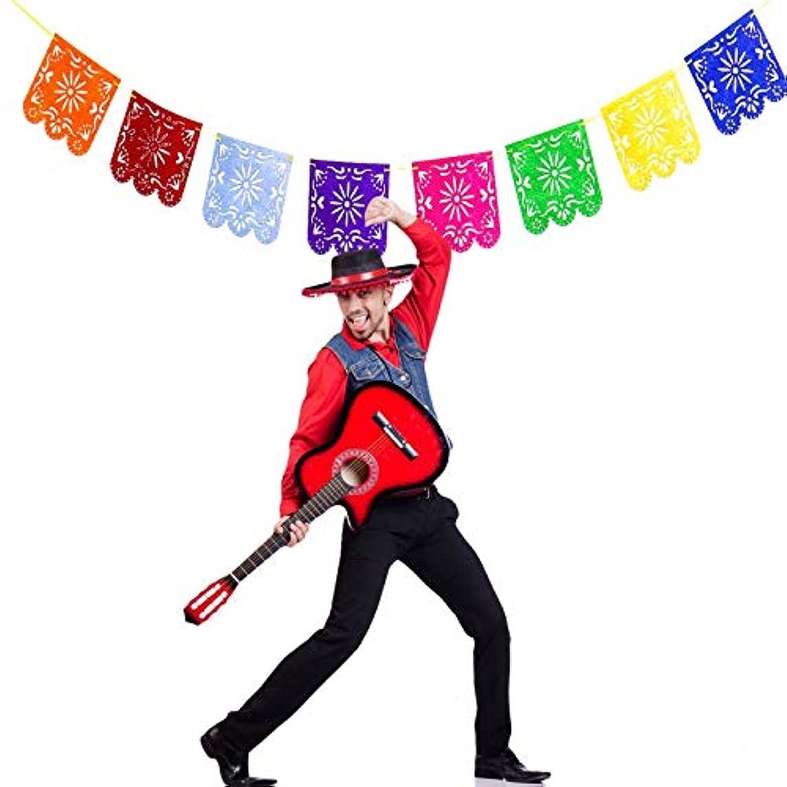 AQUEENLY Multicolored Mexican Papel Picado Banner, Felt Picado Banner Flags on Mexican Party Decorations for Cinco De Mayo, Birthdays, Easter, Christmas, Fiesta Festivals