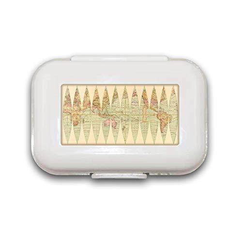 Sunok Antike Weltkarte Pillendose Pillendose Pillendose Dekorative Boxen Pillendose für Tasche oder Geldbörse – 8 Fächer Pillendose